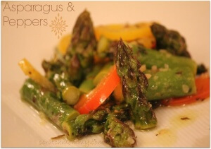 Asparagus and Peppers - This is a simple and nourishing side dish that compliments most all mains. Super yummy!