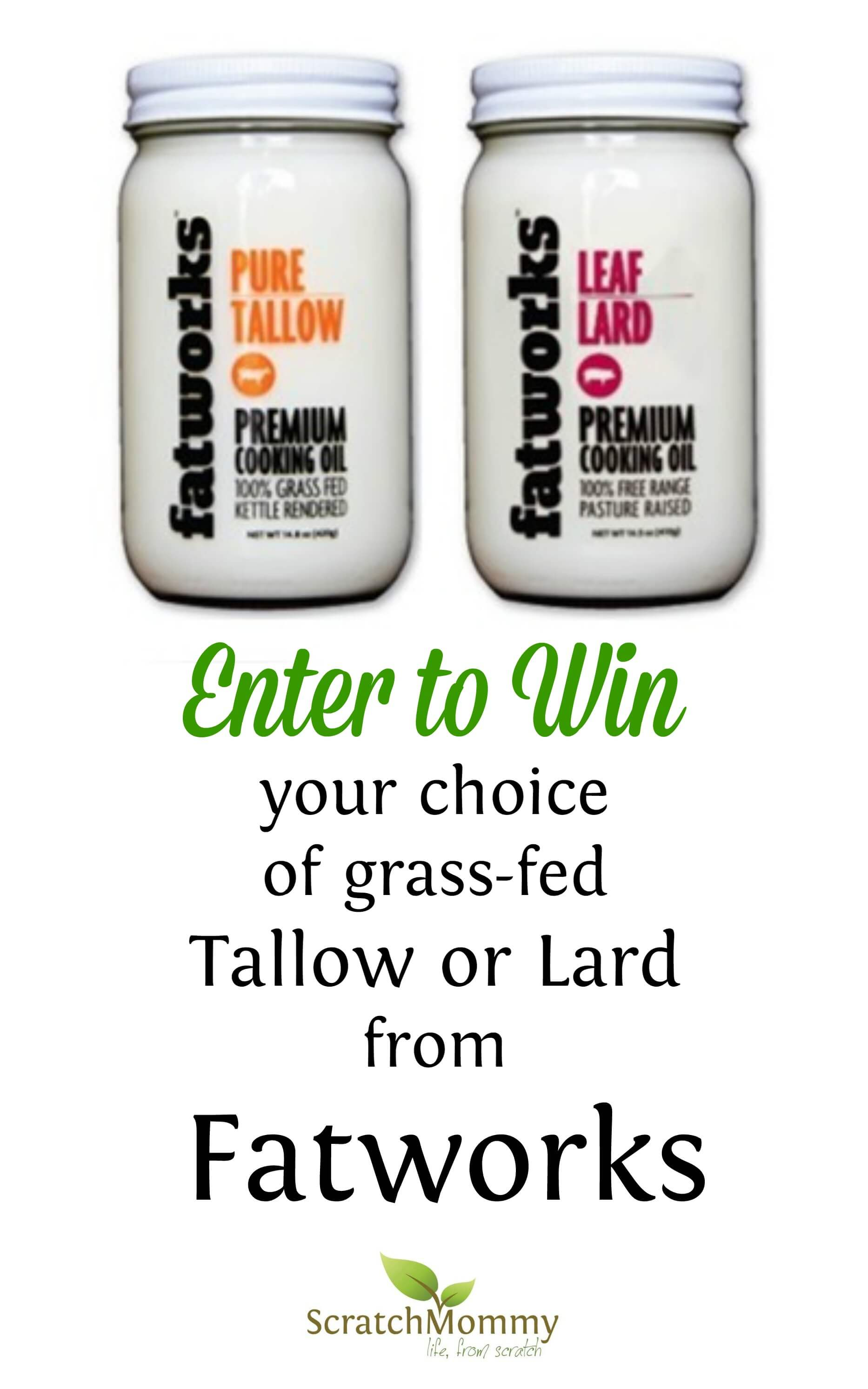 Day 3 of our giveaways in celebration of the Scratch Mommy launch. Enter to win your choice of grass-fed lard or tallow from Fatworks!