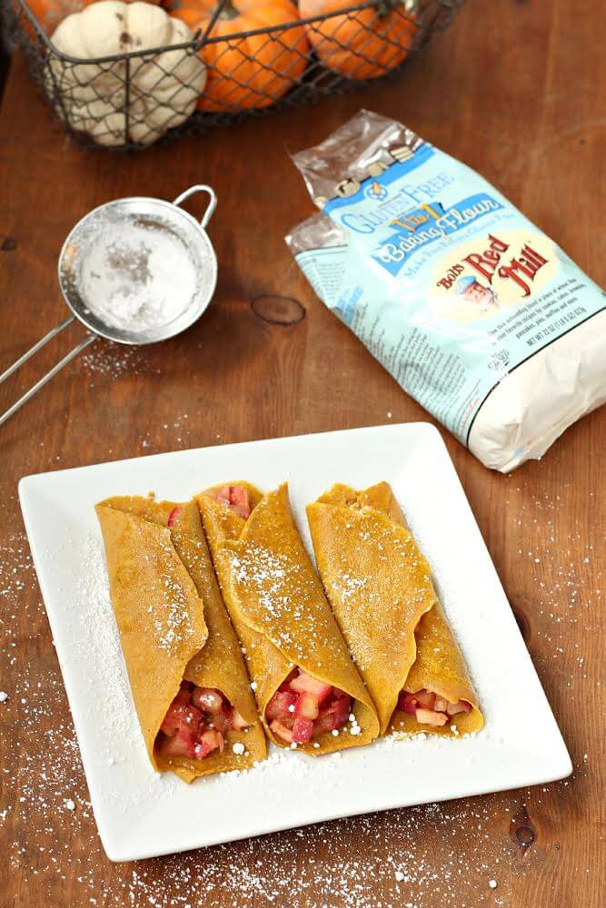 Gluten-Free Pumpkin Crepes with Warm Apple Filling 3