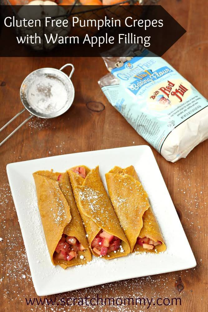 Gluten-Free Pumpkin Crepes with Warm Apple Filling perfect for a fall breakfast or brunch
