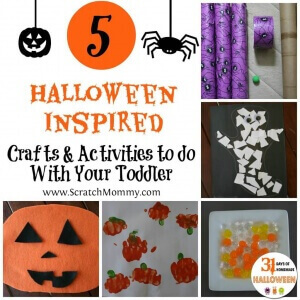 Here are 5 Halloween inspired crafts and activities that are completely toddler friendly. Just make sure you have everything you need when you start -- toddlers are known to be impatient!