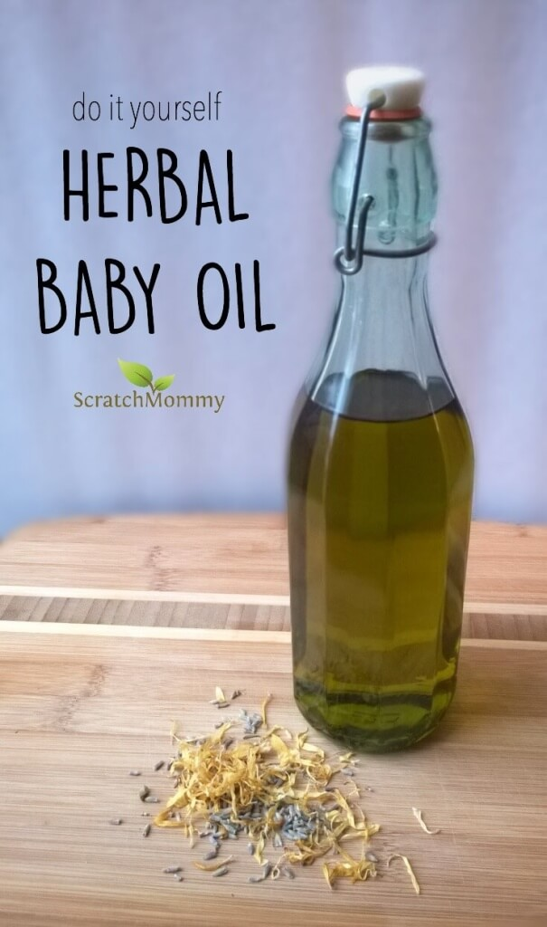 Ditch the toxic store-bought stuff! This DIY herbal baby oil is infused with skin nourishing oils like lavender and calendula to help keep baby's skin soft and kissable.