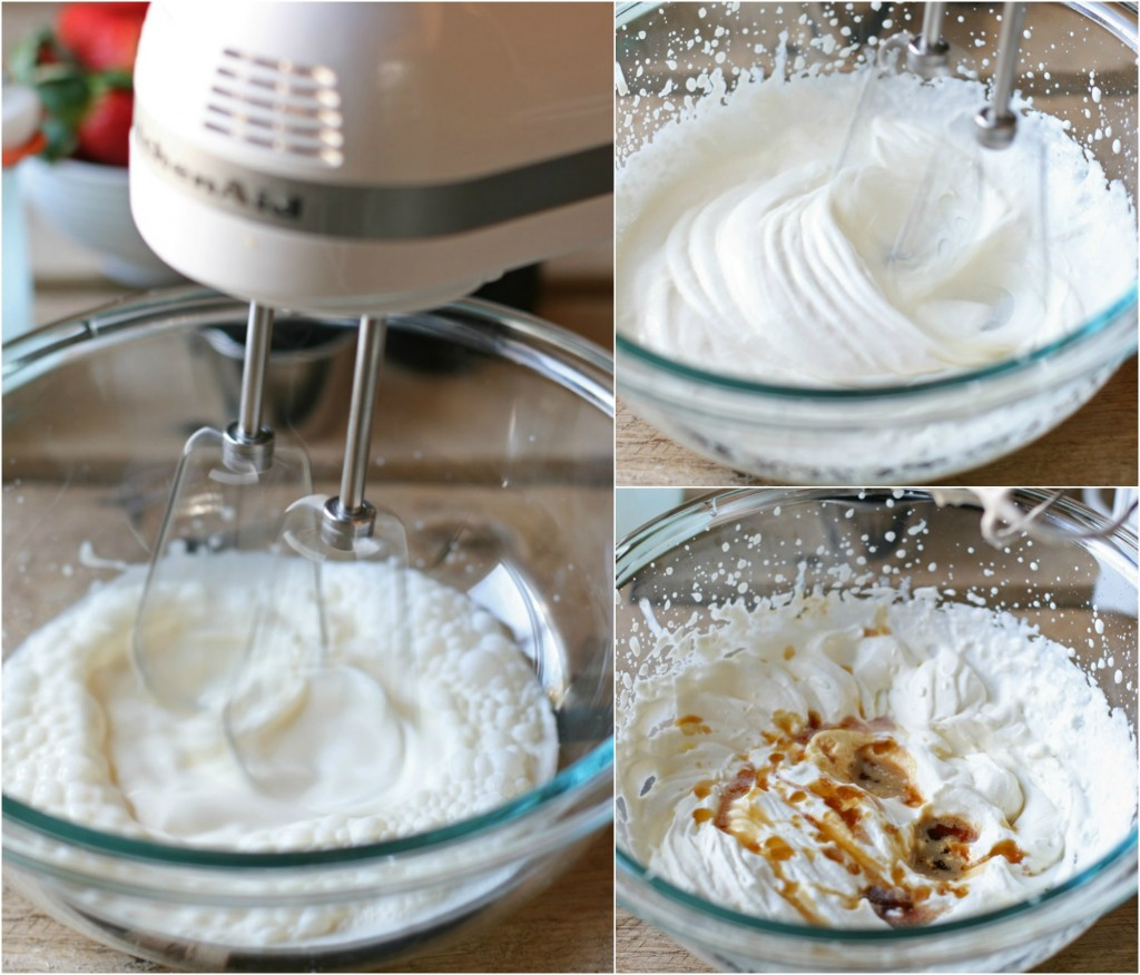 Homemade whipped cream was never so easy! Sweetened with just a touch of maple syrup and vanilla, heavy whipping cream is literally whipped until it becomes fluffy. All it takes is a hand mixer, your favorite bowl, and about 5 minutes of your time.