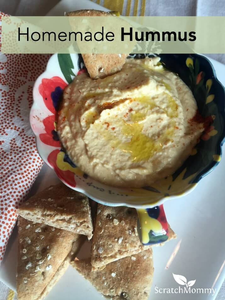 Homemade hummus is incredibly easy to make at home. Doing this eliminates the use of BPA-lined cans and weird unnecessary ingredients. Plus, it saves you money!