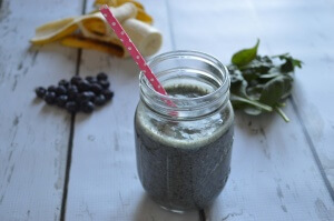 This smoothie is chock full of wholesome, nourishing ingredients including the superfood Maca. The pretty blue hue in this maca smoothie is thanks to organic blueberries.