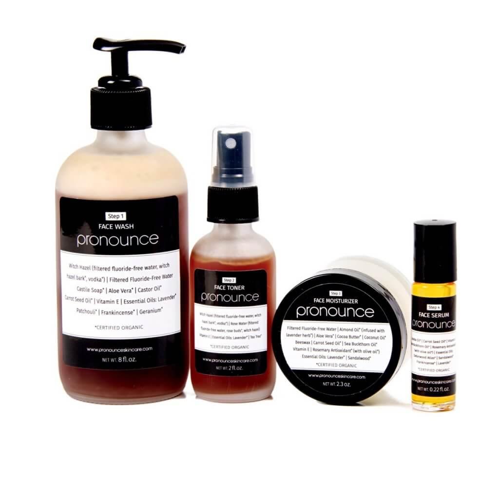 Total Face System - Pronounce Skincare (Face Wash, Face Toner, Face Moisturizer, Face Serum) 1200 x 1200