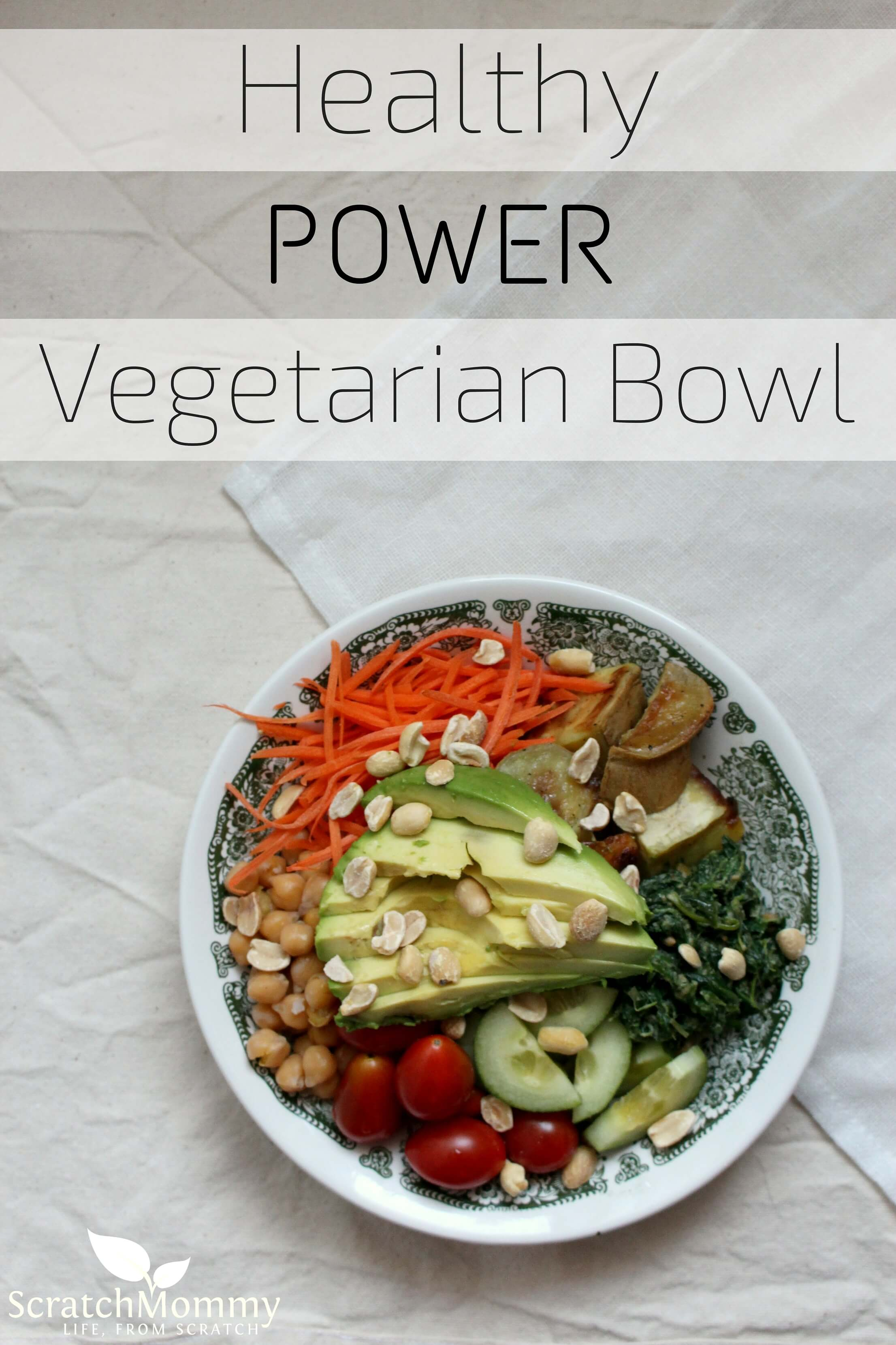 Healthy Power Vegetarian Bowl. Jam packed with healthy veggies and so fun (and easy!) to make- Scratch Mommy