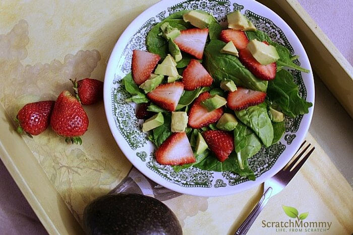 Strawberry Avocado Salad with Poppyseed Dressing - Definitely a hit at a potluck this spring or summer! - Scratch Mommy
