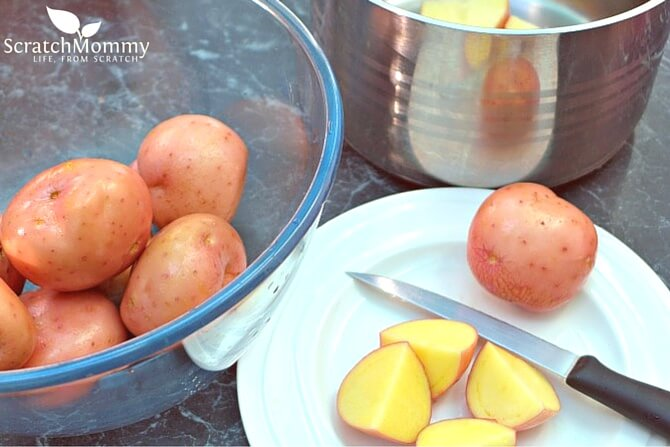 Red Potato Salad Recipe - beautiful red potatoes, caramelised onions, homemade (easy) dressing, SO good!- Scratch Mommy