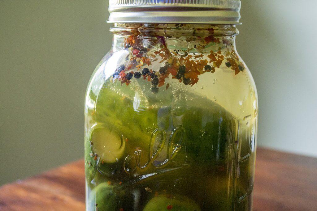fermented-pickles-checking-progress